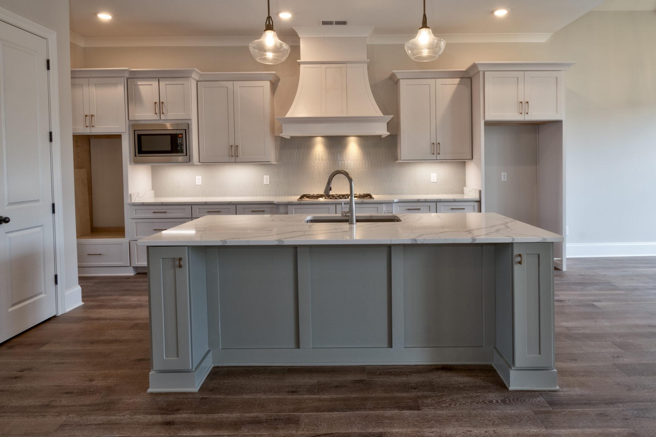 Expansive Kitchen Island Custom Home